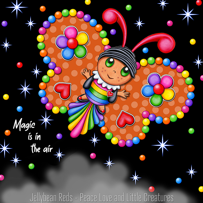Butterfly creature with jewel orange wings accented with rainbow orbs, flowers and hearts flying in a starry night sky