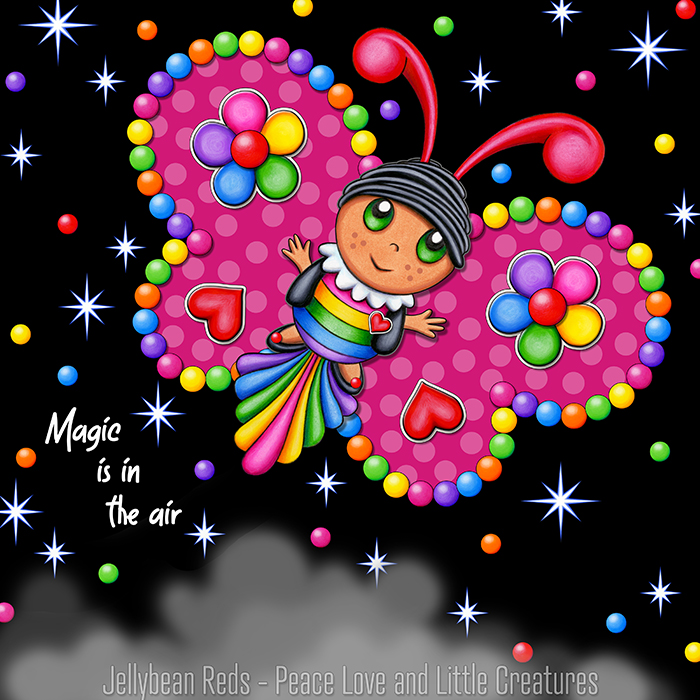 Butterfly creature with jewel pink wings accented with rainbow orbs, flowers and hearts flying in a starry night sky