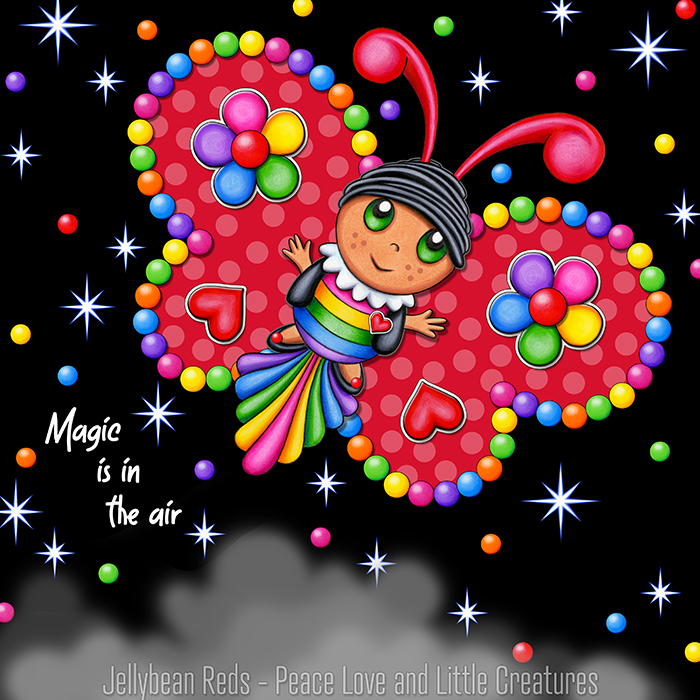 Butterfly creature with jewel red wings accented with rainbow orbs, flowers and hearts flying in a starry night sky