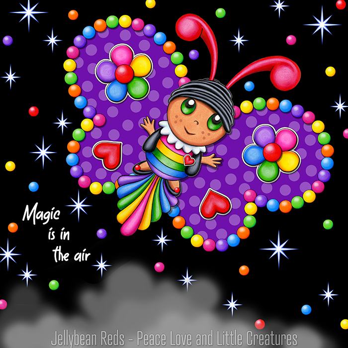 Butterfly creature with jewel violet wings accented with rainbow orbs, flowers and hearts flying in a starry night sky