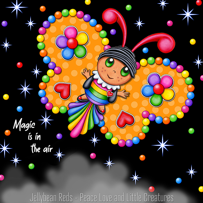 Butterfly creature with jewel yellow wings accented with rainbow orbs, flowers and hearts flying in a starry night sky