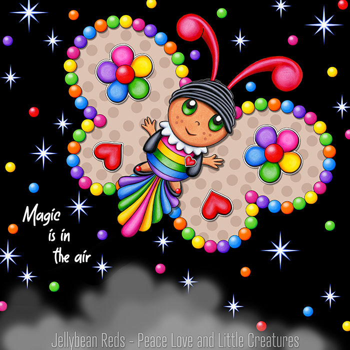 Butterfly creature with light mocha wings accented with rainbow orbs, flowers and hearts flying in a starry night sky
