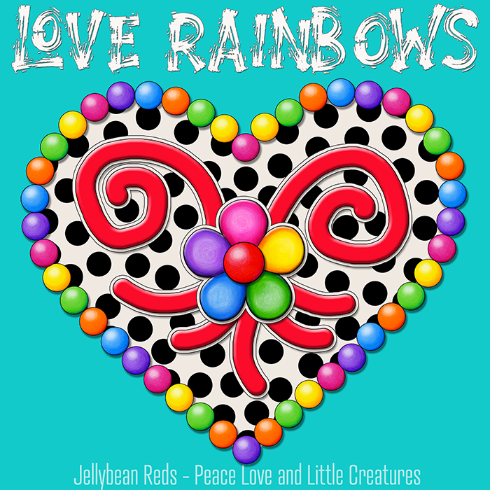 Cream Black Heart with Rainbow Orbs and Jelly Flower - Love Rainbows - Aqua Background - Mid Morning Collection No2