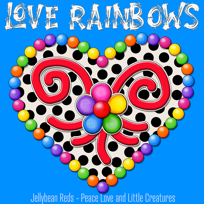 Cream Black Heart with Rainbow Orbs and Jelly Flower - Love Rainbows - Blue Background - Mid Morning Collection No2