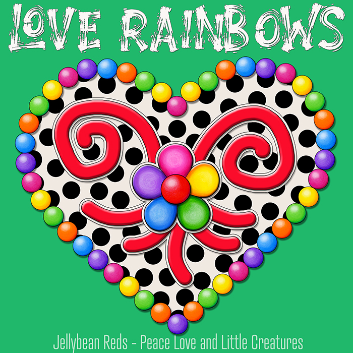 Cream Black Heart with Rainbow Orbs and Jelly Flower - Love Rainbows - Green Background - Mid Morning Collection No2