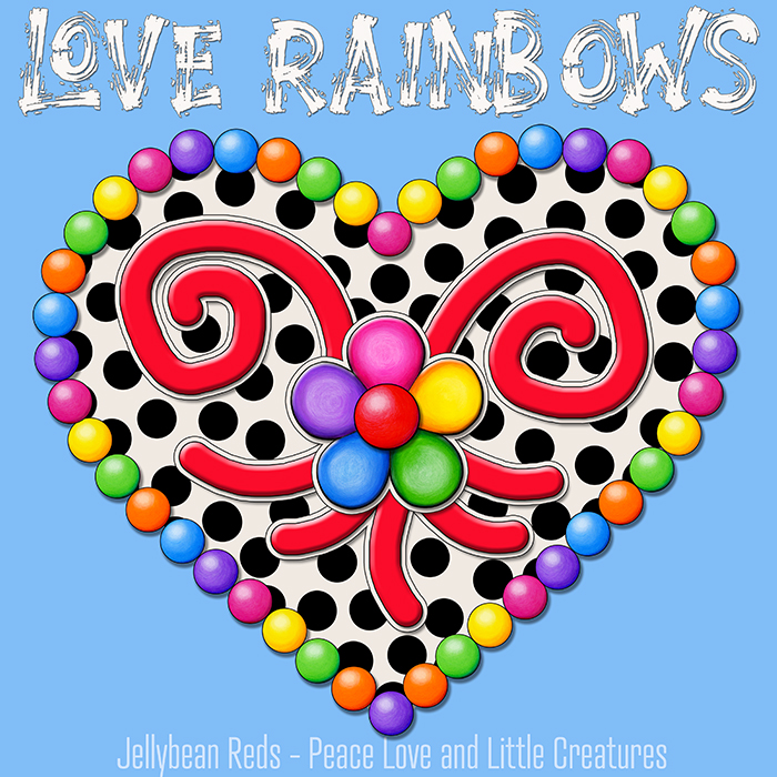 Cream Black Heart with Rainbow Orbs and Jelly Flower - Love Rainbows - Magic Blue Background - Mid Morning Collection No2