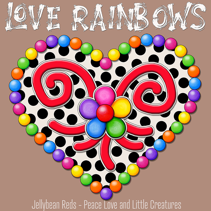 Cream Black Heart with Rainbow Orbs and Jelly Flower - Love Rainbows - Mocha Background - Mid Morning Collection No2