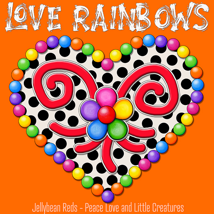 Cream Black Heart with Rainbow Orbs and Jelly Flower - Love Rainbows - Orange Background - Mid Morning Collection No2