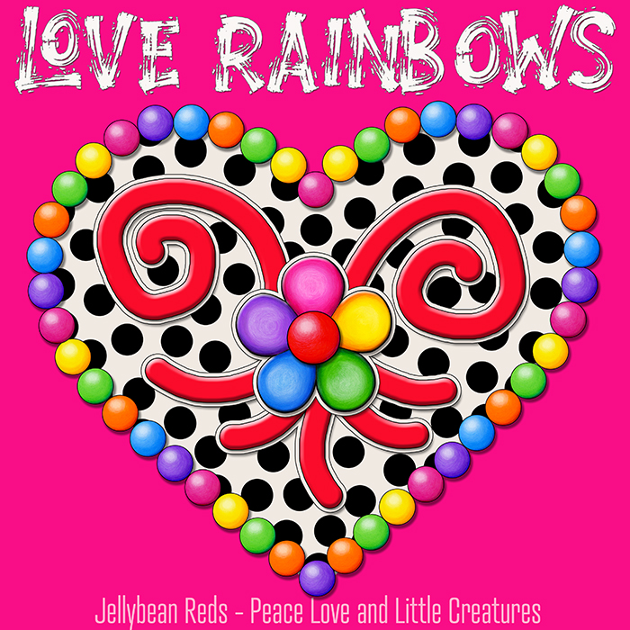 Cream Black Heart with Rainbow Orbs and Jelly Flower - Love Rainbows - Pink Background - Mid Morning Collection No2