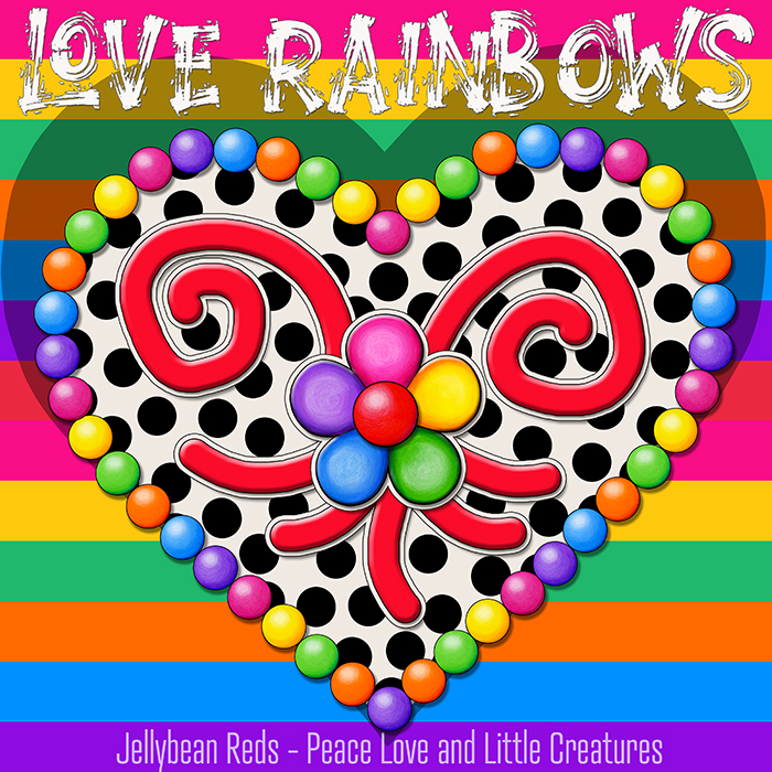 Cream Black Heart with Rainbow Orbs and Jelly Flower - Love Rainbows - Rainbow Background - Mid Morning Collection No2