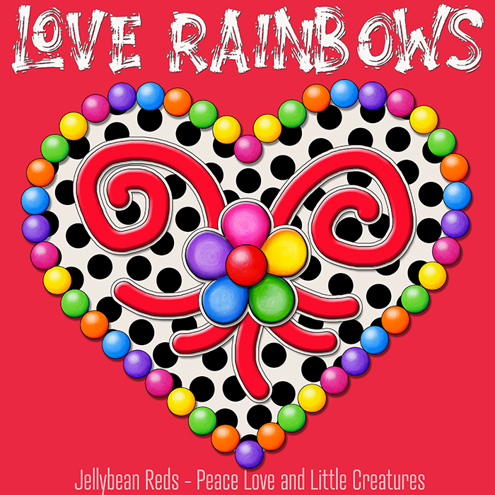 Cream Black Heart with Rainbow Orbs and Jelly Flower - Love Rainbows - Red Background - Mid Morning Collection No2
