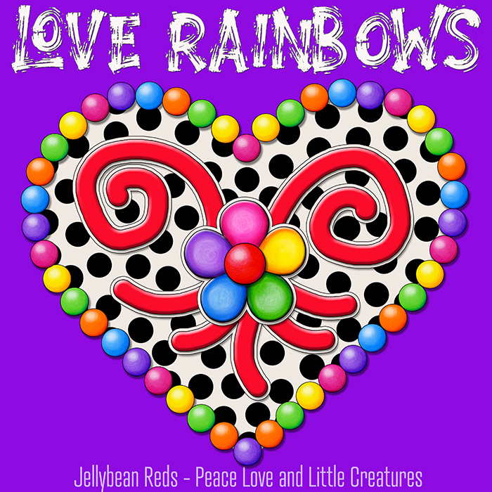 Cream Black Heart with Rainbow Orbs and Jelly Flower - Love Rainbows - Violet Background - Mid Morning Collection No2