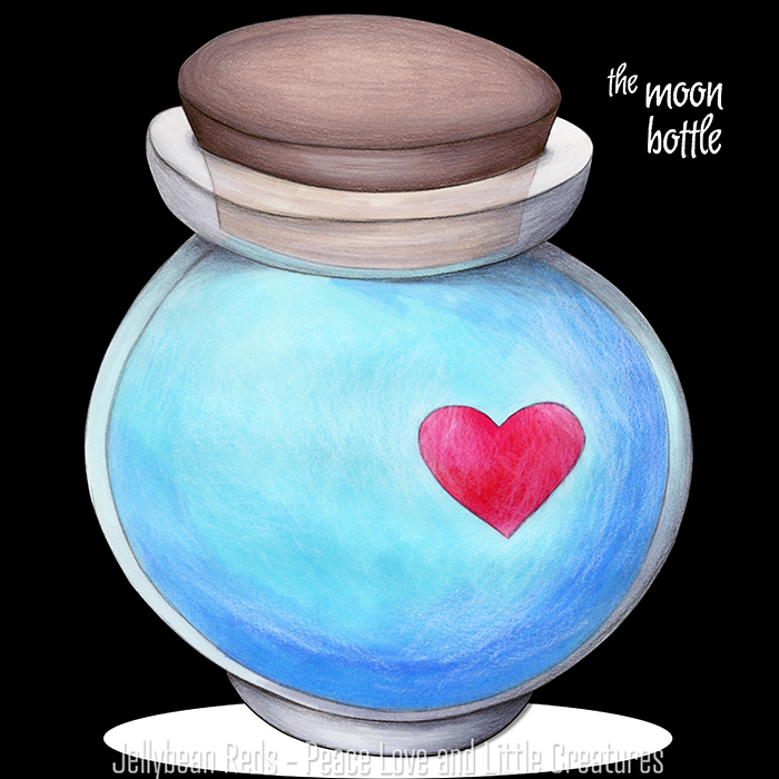 The Magic Bottle as Jellybean saw it - Glowing blue with a small, red heart imprisoned Inside