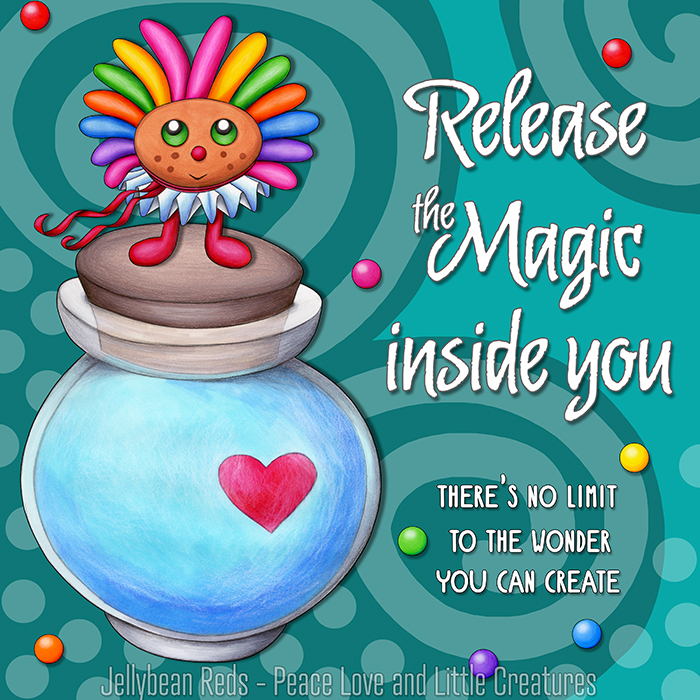 Release the Magic inside you - There's no limit to the wonder you can create - Rainbow Muse standing on Moon Bottle - Aqua background