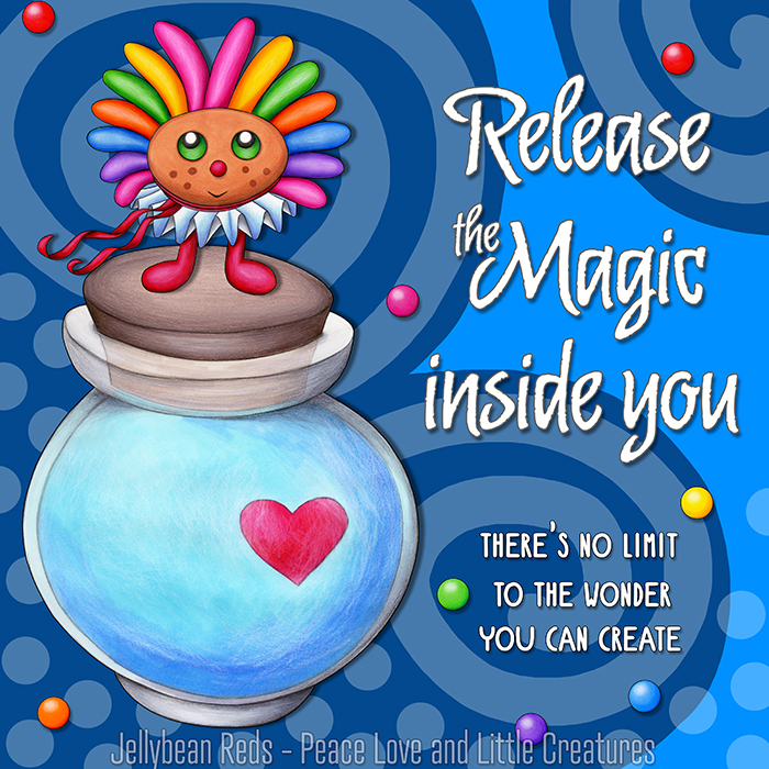 Release the Magic inside you - There's no limit to the wonder you can create - Rainbow Muse standing on Moon Bottle - Blue background