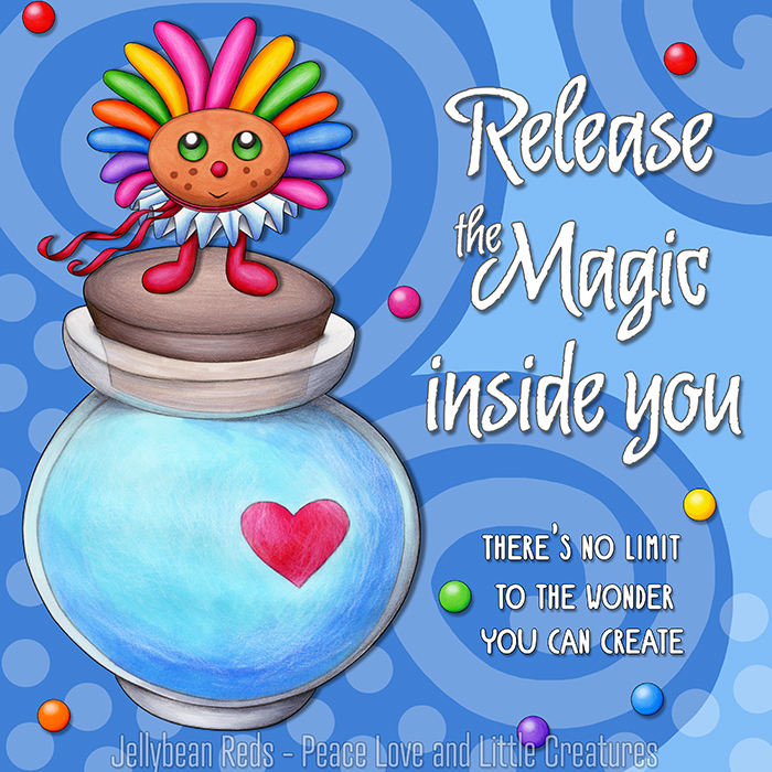 Release the Magic inside you - There's no limit to the wonder you can create - Rainbow Muse standing on Moon Bottle - Magic blue background