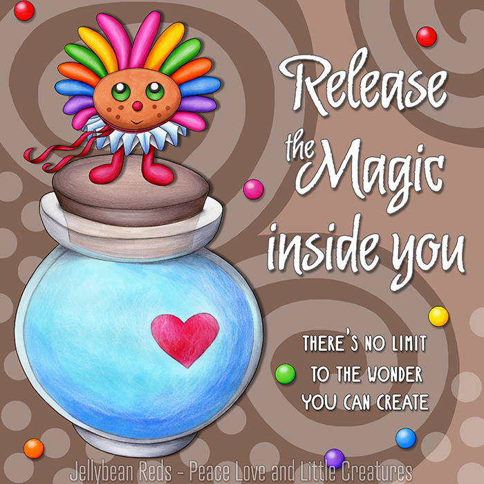 Release the Magic inside you - There's no limit to the wonder you can create - Rainbow Muse standing on Moon Bottle - Mocha background