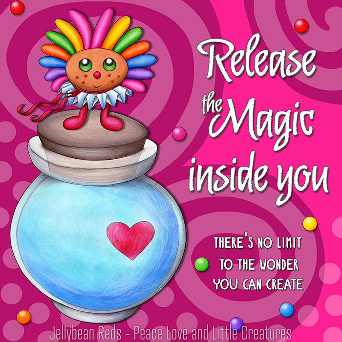 Release the Magic inside you - There's no limit to the wonder you can create - Rainbow Muse standing on Moon Bottle - Pink background