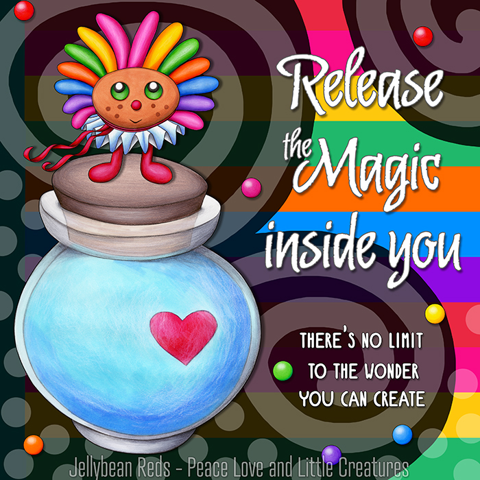 Release the Magic inside you - There's no limit to the wonder you can create - Rainbow Muse standing on Moon Bottle - Rainbow background