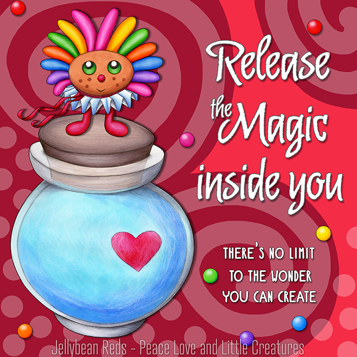 Release the Magic inside you - There's no limit to the wonder you can create - Rainbow Muse standing on Moon Bottle - Red background
