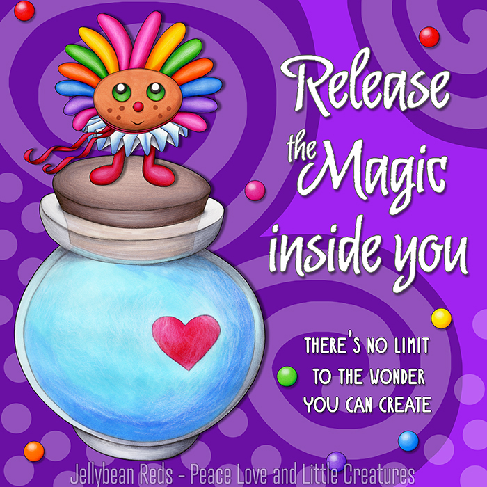 Release the Magic inside you - There's no limit to the wonder you can create - Rainbow Muse standing on Moon Bottle - Violet background