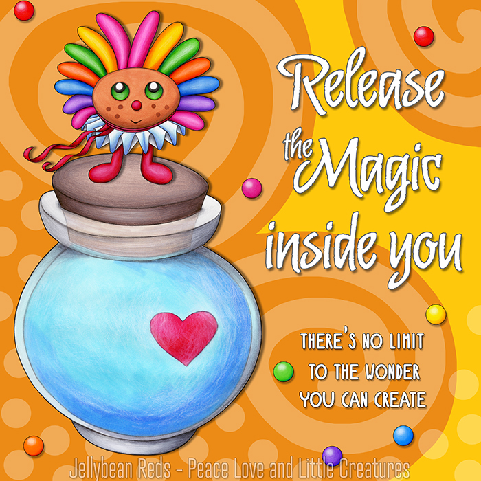 Release the Magic inside you - There's no limit to the wonder you can create - Rainbow Muse standing on Moon Bottle - Yellow background