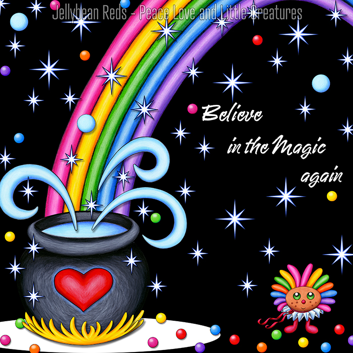 Cauldron with Magic Muse, Swirls and Stars - Believe in the Magic Again